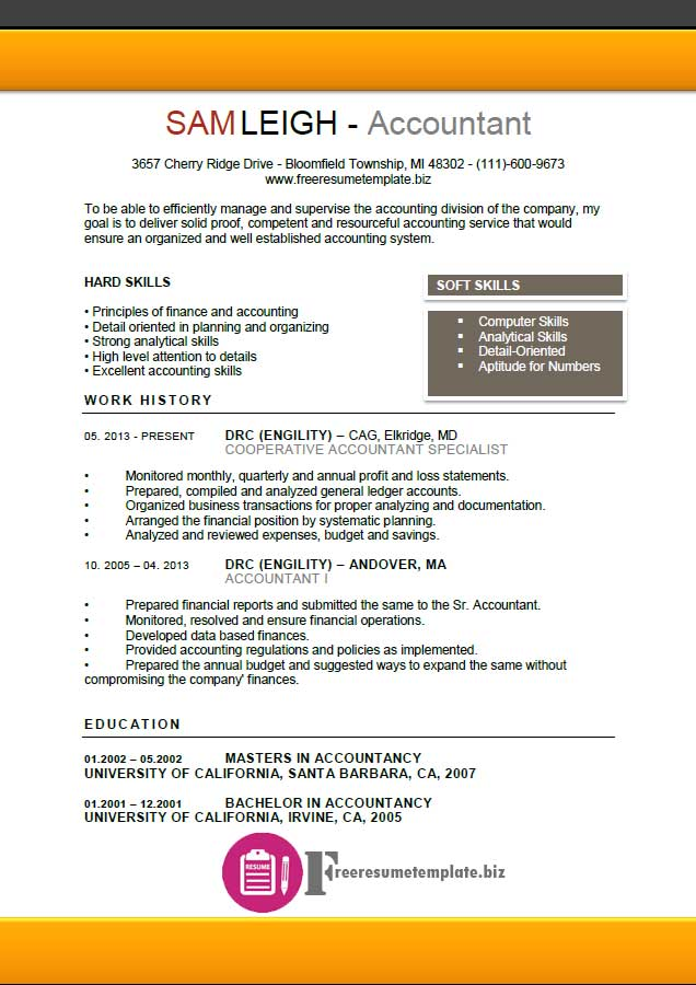 Accountant Resume Template ⋆ Free Resume Templates