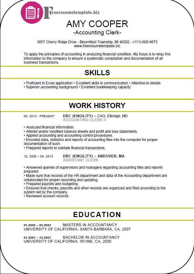 Accounting Clerk Resume Template ⋆ Free Resume Templates
