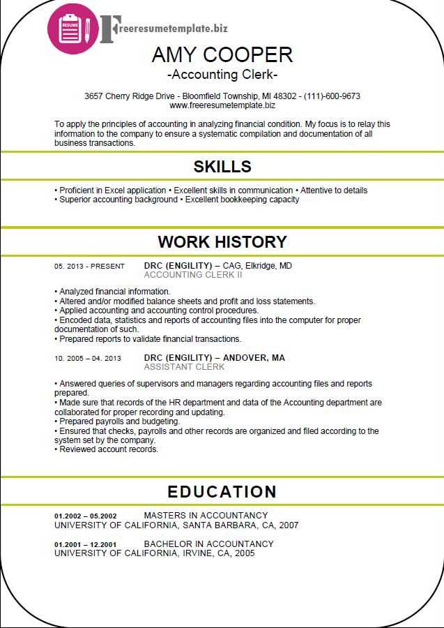 Accounting Clerk Resume Template ⋆ Free Resume Templates - resume sample for accounting clerk