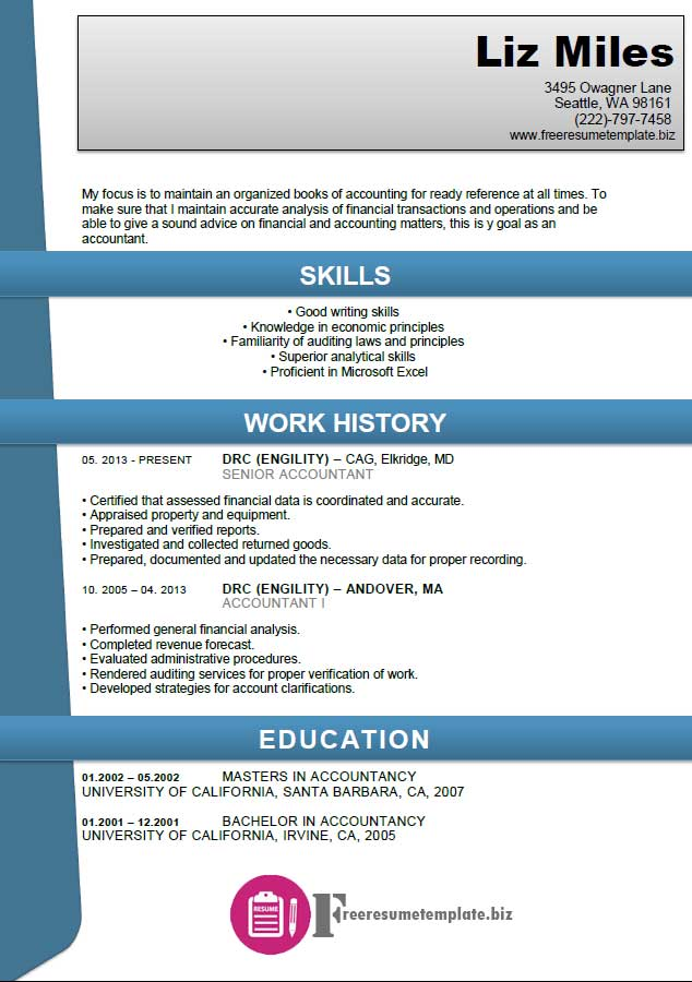 Accounting Resume Template ⋆ Free Resume Templates