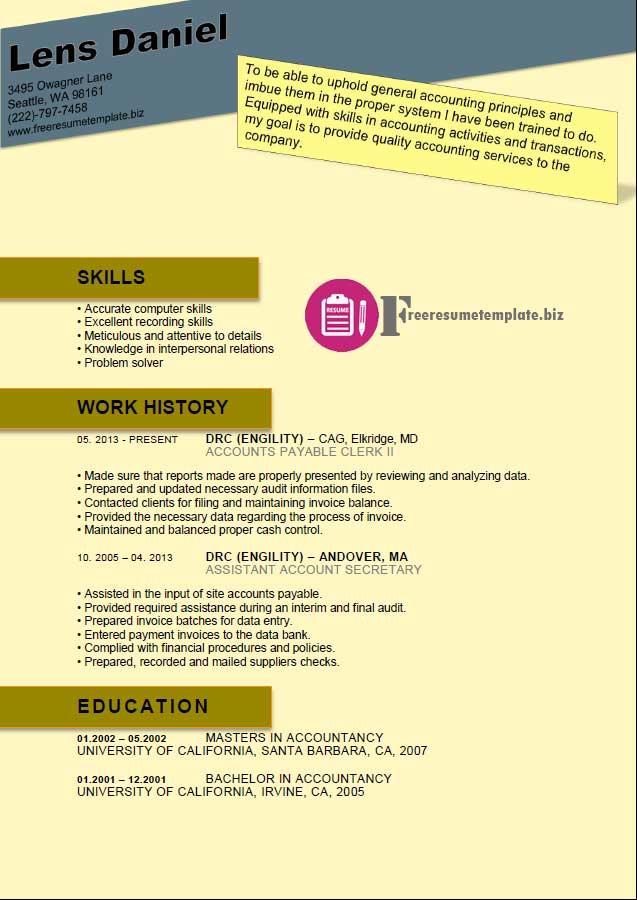 Accounts Payable Resume Template ⋆ Free Resume Templates - accounts payable resume format