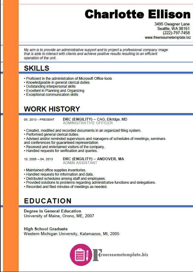 Admin Assistant Resume Template ⋆ Free Resume