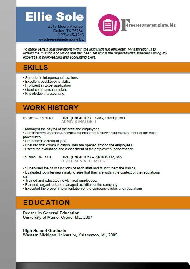 Administrator Resume Template ⋆ Free Resume Templates - admin resume templates