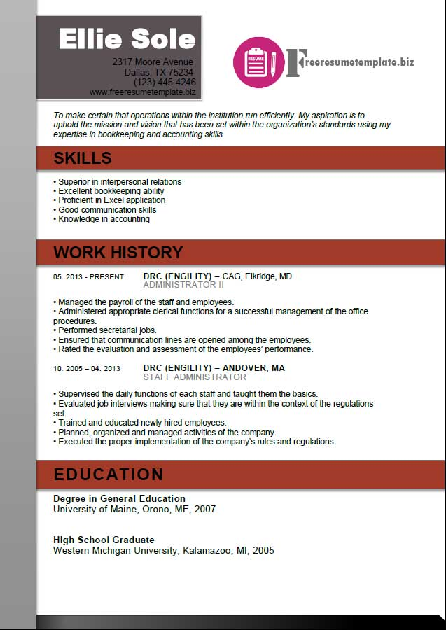 Administrator Resume Template ⋆ Free Resume Templates - appropriate resume font