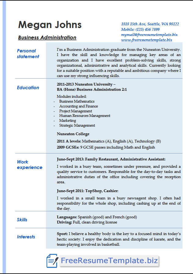 resume templates business administration