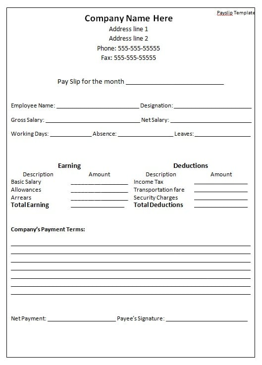 payslip template printable