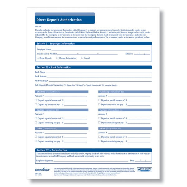 Direct Deposit Authorization Form Direct Deposit Authorization Form - blank payroll form
