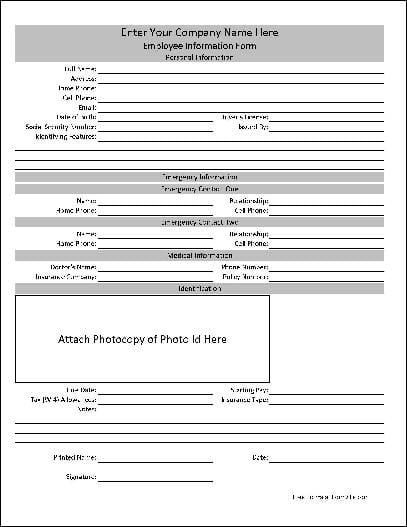 free employee information sheet template - Militarybralicious - company information template