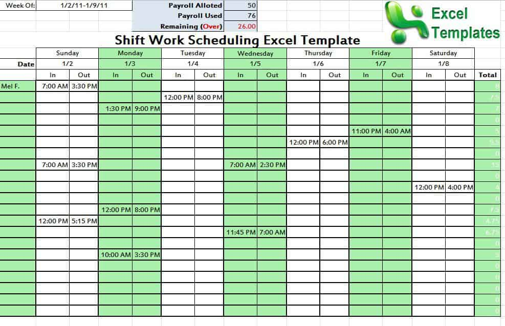 Shift Work Schedule Templates  PetitComingoutpolyCo