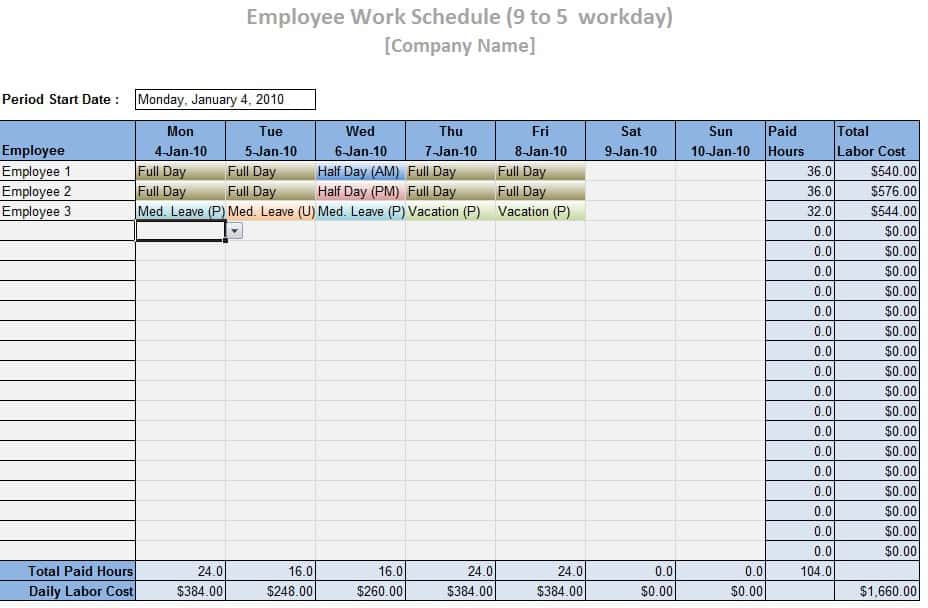 Employee Work Schedule Template - Word Excel