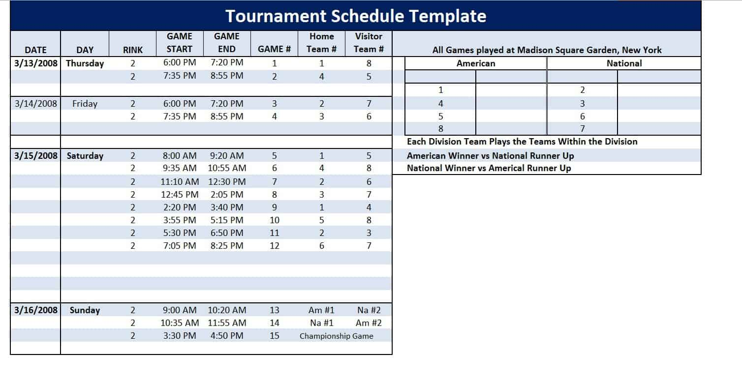 Work Schedule Template Free Printable Calendar Templates Tournament Schedule Template Word Excel