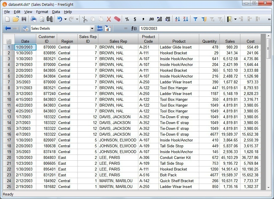 FreeSight Help - Using Formulas in an Analysis Table - cost of sales analysis