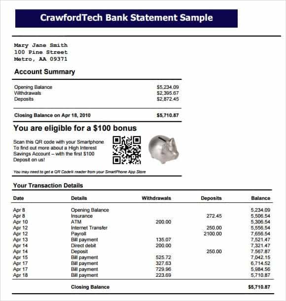 business bank statement sample
