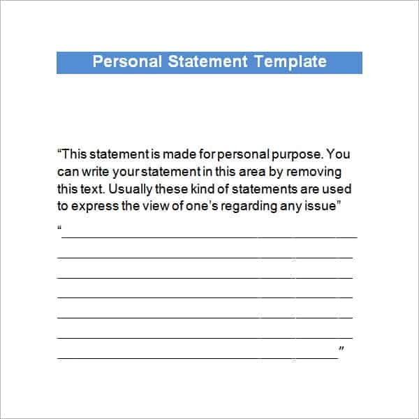 4 Free Personal Statement Templates - Word Excel Sheet PDF