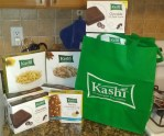 10 boxes of Kashi Chocolate Soft baked Squares, 1 box Banana Chocolate Chip Bars, Honey Sunshine, Cinnamon Harvest Cereal, Tote from Moms Meet