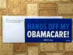 Hands Off My Obamacare ! Sticker from DSCC.org