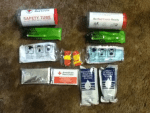 2 - America Red Cross Safety Tubes from Fulfillment Strategies Int'l - Mask - Whistle - Light Stick - Water Pouch - Emergency Blanket