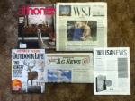 Athome Winter 2014-15 magazine - The Wall Street Journal - OutDoor Life December - January magazine - Wabash Valley AG News letter from Illinois Farm Bureau - Lisa Scottoline