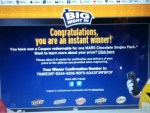 Instant Winner in the Mars Chocolate Big Night in Instant Win Game - Won a coupon for a Free MARS Chocolate Single Pack - Thank you MARS