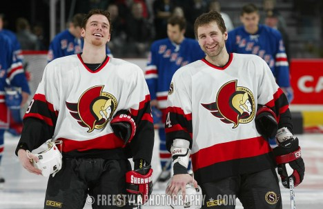 Marting Havlat and Radek Bonk share a laugh during the 2003 NHL Playoffs © Jana Chytilova/Freestyle Photography/OSHC