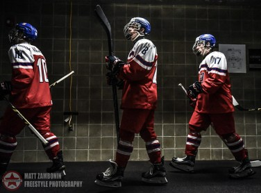 Czech Republic's Ondrej Najman #10, Pavel Kousal #28, and Daniel Novak #17 before their game against Finland during preliminary round action at the 2016 IIHF Ice Hockey U18 World Championship. (Photo by Matt Zambonin/HHOF-IIHF Images)