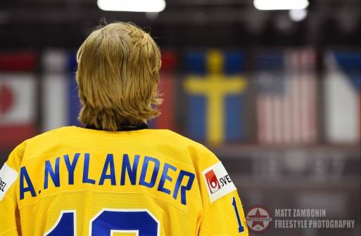 Sweden's Alexander Nylander #19 enjoys their national anthem after a 5-0 win over Team Denmark during preliminary round action at the 2016 IIHF World Junior Championship. (Photo by Matt Zambonin/HHOF-IIHF Images)