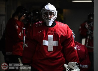Switzerland's Joren Van Pottelberghe #30 takes to the ice before facing off against Team USA during preliminary round action at the 2016 IIHF World Junior Championship. (Photo by Matt Zambonin/HHOF-IIHF Images)