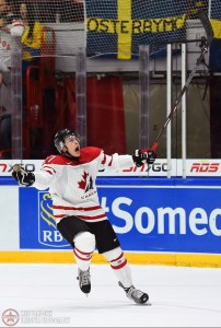 Canada's Mitchell Stephens #27 celebrates after scoring a first period goal during preliminary round action at the 2016 IIHF World Junior Championship. (Photo by Matt Zambonin/HHOF-IIHF Images)