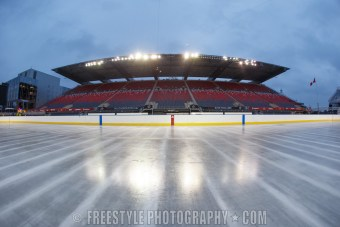 OTTAWA, ON - DECEMBER 9: A general view of the rink ahead of the Scotiabank NHL100 Classic between the Ottawa Senators and the Montreal Canadiens at Lansdowne Park on December 9, 2017 in Ottawa, Canada. (Photo by Andre Ringuette/NHLI via Getty Images)