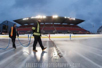 OTTAWA, ON - DECEMBER 9: Ice crew work on the ice ahead of the Scotiabank NHL100 Classic between the Ottawa Senators and the Montreal Canadiens at Lansdowne Park on December 9, 2017 in Ottawa, Canada. (Photo by Andre Ringuette/NHLI via Getty Images)