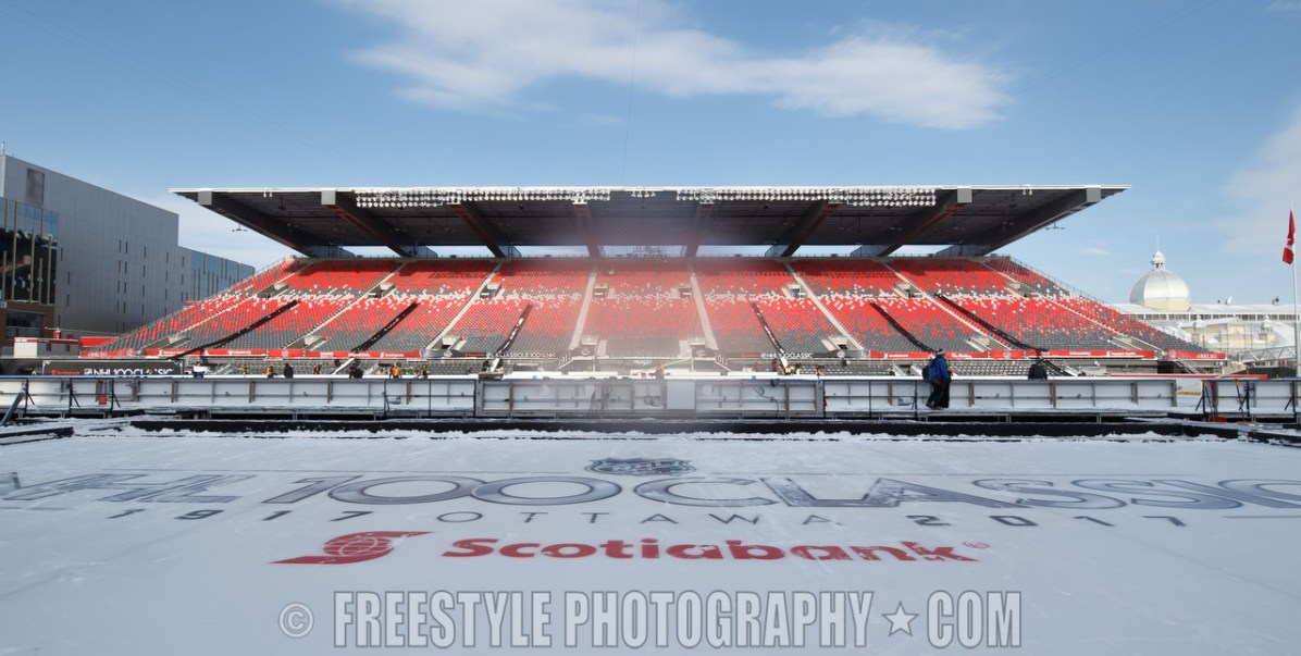 OTTAWA, ON - DECEMBER 13: A general view of the rink and stadium ahead of the Scotiabank NHL100 Classic between the Ottawa Senators and the Montreal Canadiens, at Lansdowne Park on December 13, 2017 in Ottawa, Canada. (Photo by Andre Ringuette/NHLI via Getty Images)