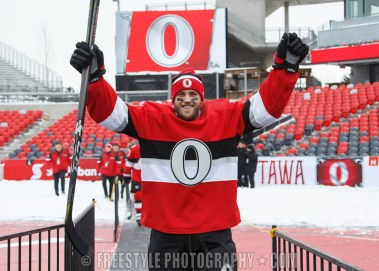 OTTAWA, ON - DECEMBER 15: Fredrik Claesson #33 of the Ottawa Senators makes his way onto the ice during a practice session ahead of the Scotiabank NHL100 Classic, at Lansdowne Park on December 15, 2017 in Ottawa, Canada. (Photo by Andre Ringuette/NHLI via Getty Images)