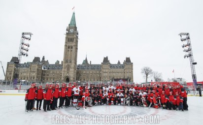 OTTAWA, ON - DECEMBER 15: Ottawa Senators past and present at Centennial Fan Arena on Parliament Hill ahead of the Scotiabank NHL100 Classic, on December 15, 2017 in Ottawa, Canada. (Photo by Andre Ringuette/NHLI via Getty Images)
