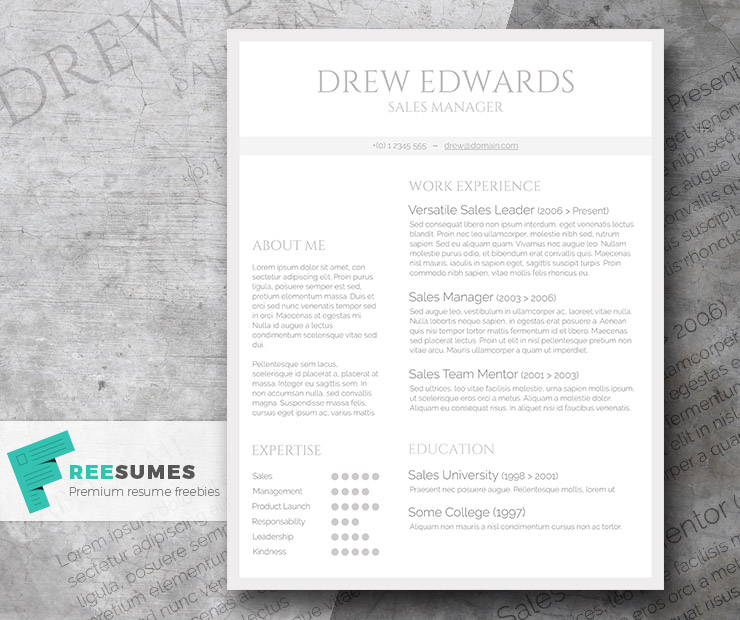 Free Straightforward Resume Design - Basic Grey and White - Freesumes