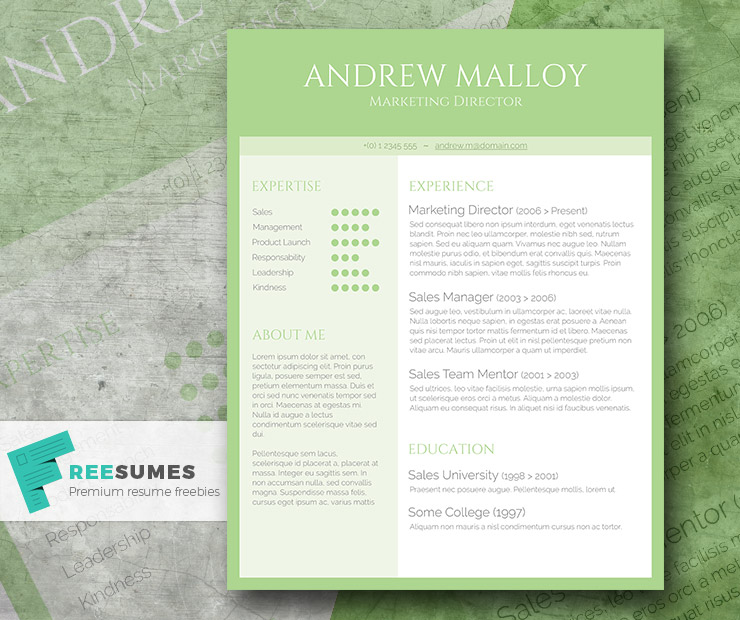 Free Creative CV Template - Simple Green - Freesumes