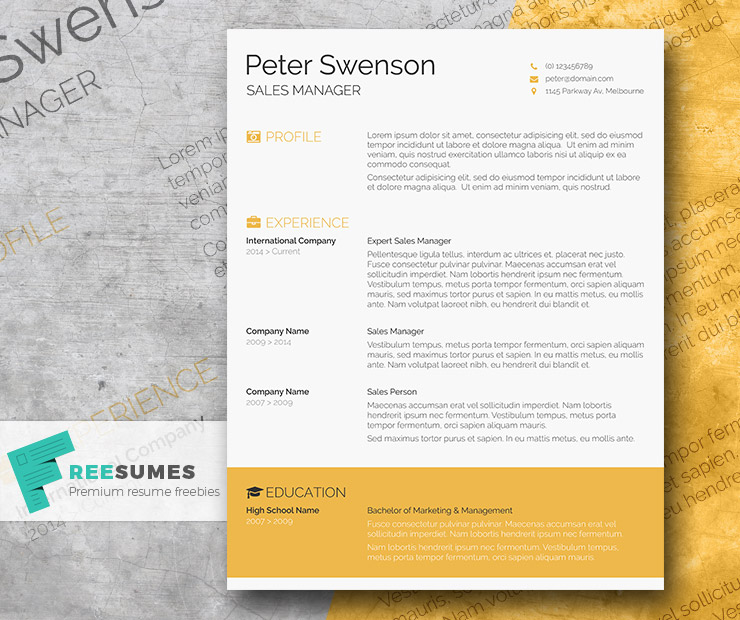 Goldenrod Yellow \u2013 A Free Clean Word Resume Template - Freesumes
