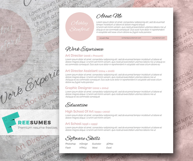 Touch of Pink - A Beautiful Free Resume Template - Freesumes
