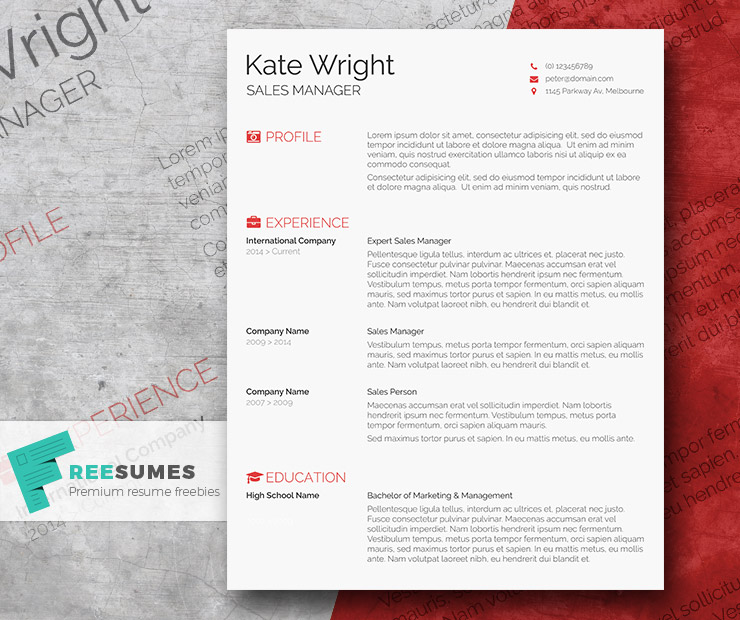 Smart Freebie Word Resume Template - The Minimalist - Freesumes - Resume Design