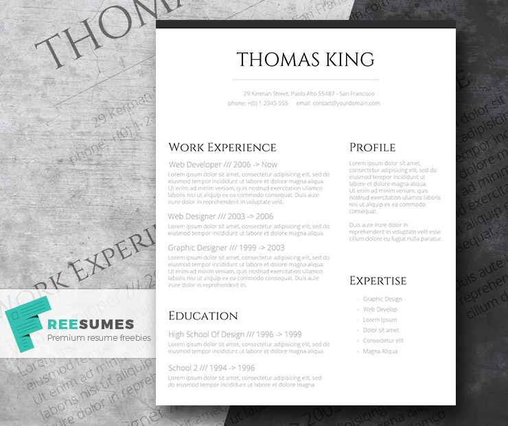 Professional Clean \u2013 A Basic but Stylish Resume Layout - Freesumes - Resume Layout