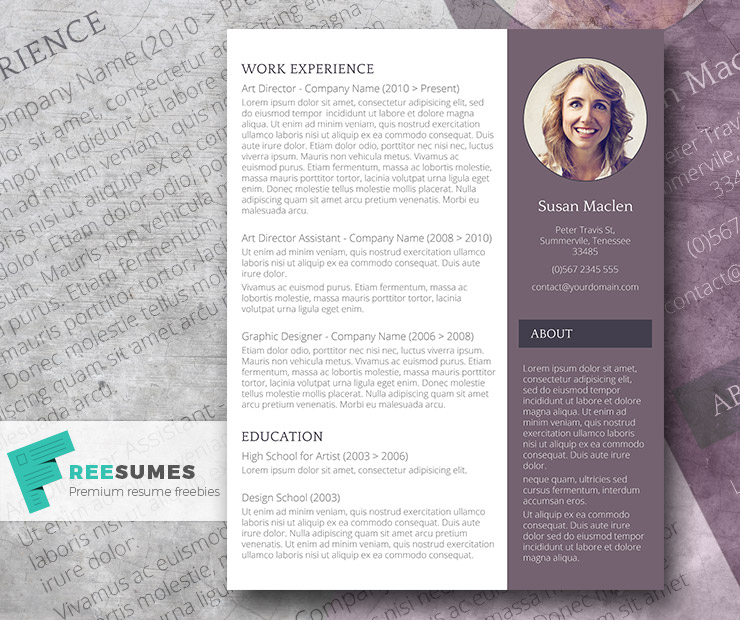 Free Resume Template - The Sophisticated Candidate - Freesumes - Free Resume Microsoft Word Templates