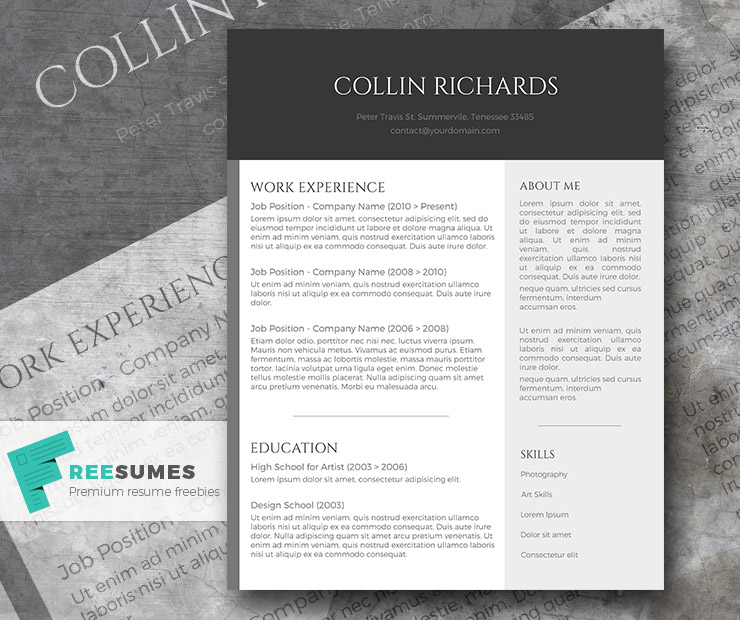 Plain but Trendy \u2013 The Free Modern Resume Template - Freesumes