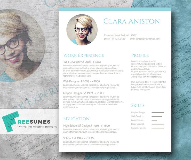 Simple Snapshot u2013 The Freebie Photo Resume Template - cool free resume templates