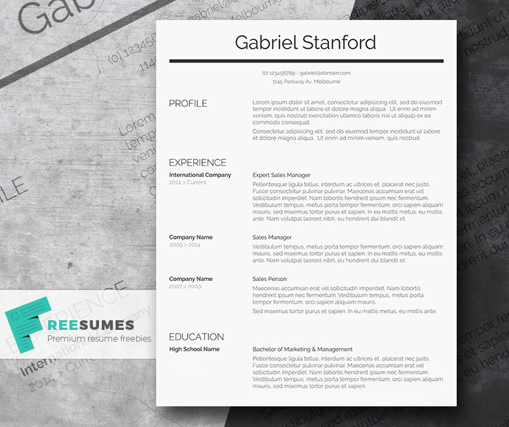 Professional Resume Template Freebie - Sleek and Simple - Freesumes - simple resume template