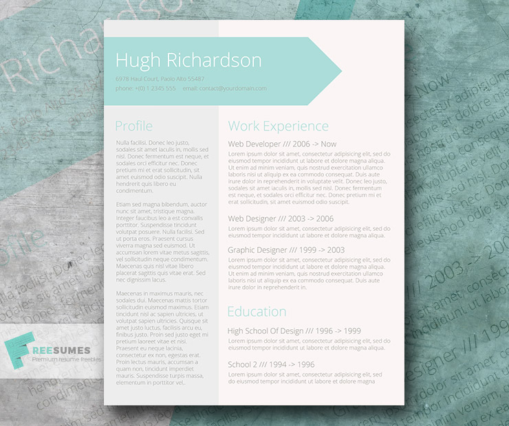 Free Turquoise Resume CV Template - Greenish Blue - Freesumes - Resume/cv Template