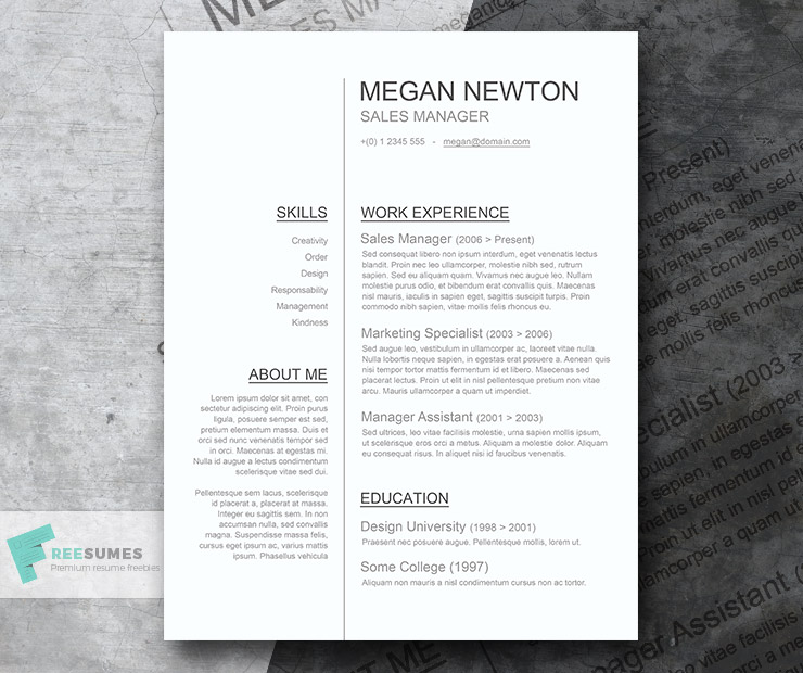 Plain and Simple \u2013 A Basic Resume Template Giveaway - Freesumes - Simple Resume Design