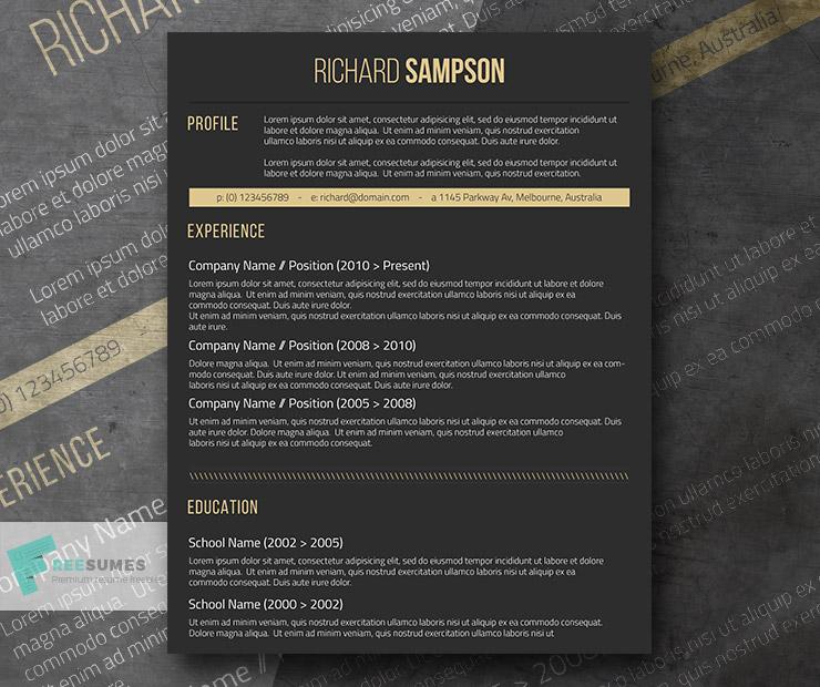 Dark Resume Template Freebie - Elegant Dark Grey - Freesumes