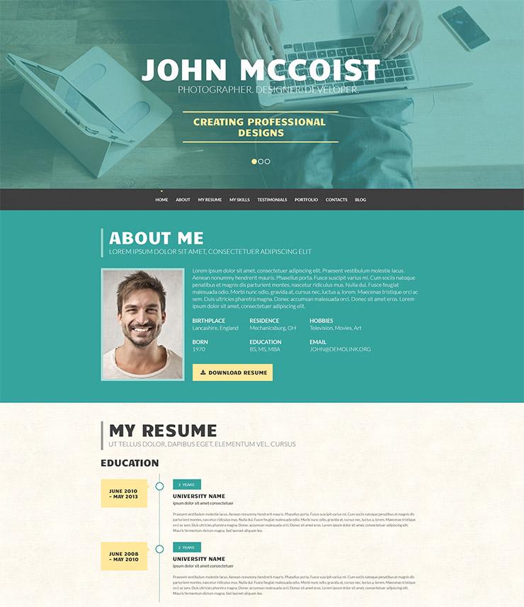 15 Best WordPress Resume / CV Themes - Freesumes - web resume