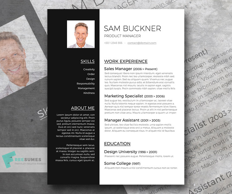 Resumes And Cover Letters Office Two Tones – A Black And White Resume Template Design Freebie