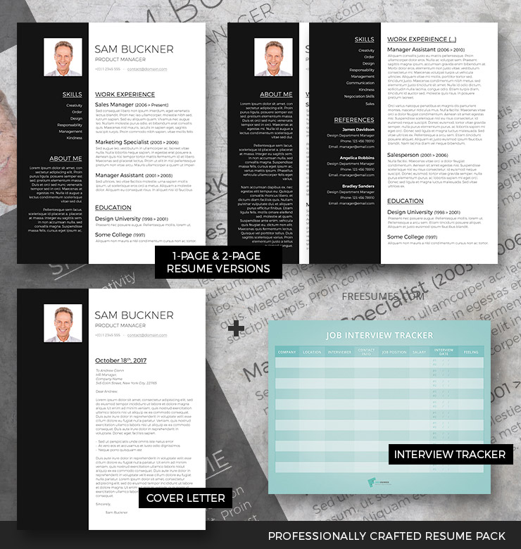 Professional Resume Template Set Two Tones - Freesumes