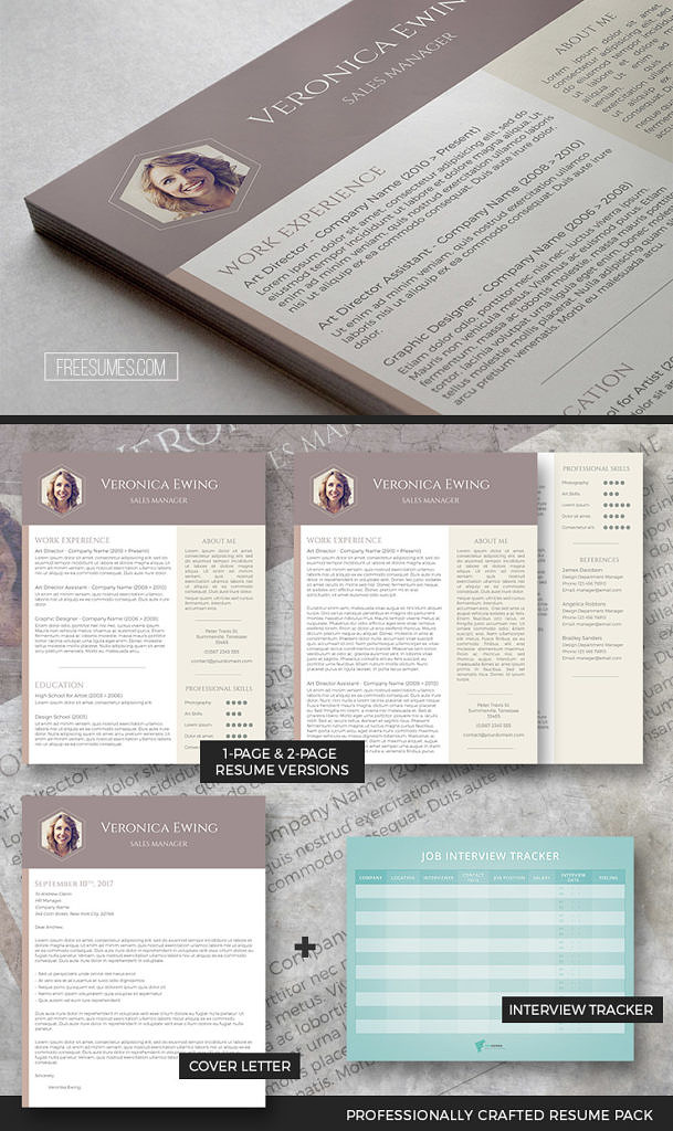 Professional Resume Template Set The Honeycomb - Freesumes - resume tracker